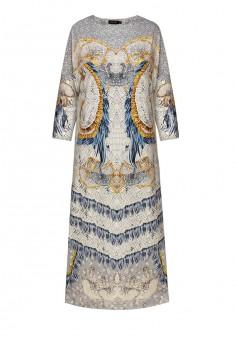 Трикотажное платье с рукавом 34 цвет светлосерый