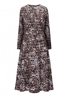 Платье с рукавом 34 цвет серокоричневый