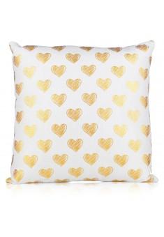 Подушка декоративная интерьерная Золотые сердца