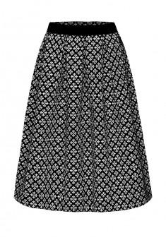 Объемная юбка из жаккарда и бархата цвет черный