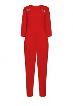 Трикотажный комбинезон с рукавом 34 для женщины цвет красный