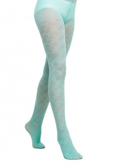 Fantasy style kids tights with a floral jacquard pattern SD129 20 den mint