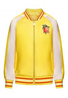 Бомбер на молнии с вышивкой для девочки цвет желтый