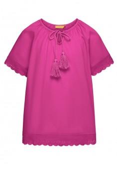 Блузка с кружевом и кисточками для девочки цвет фуксия