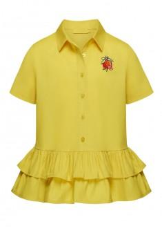 Блузка с воланами и вышивкой для девочки цвет желтый