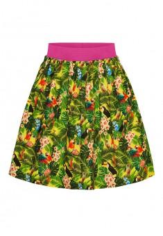 Юбка с тропическим рисунком для девочки мультицвет