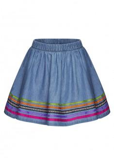 Джинсовая юбка с разноцветной тесьмой для девочки цвет голубой