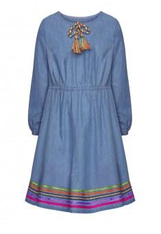 Джинсовое платье с разноцветной тесьмой для девочки цвет голубой