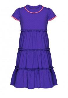 Ярусное платье с декоративной тесьмой для девочки цвет фиолетовый