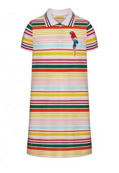 Трикотажное платьеполо с вышивкой для девочки мультицвет