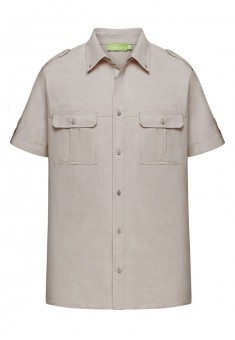 Shirt with patch pockets for men light beige