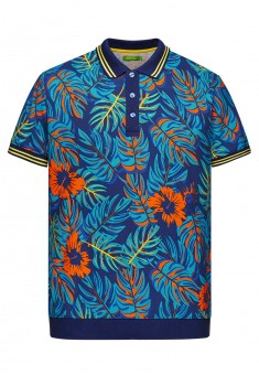 Knitted polo shirt with tropic print pattern for men dark blue