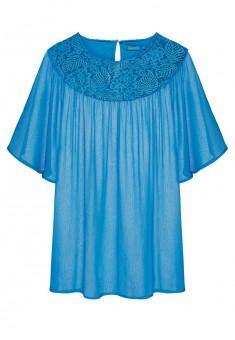 Lace yoke blouse teal