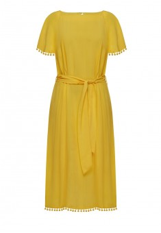 Trimmed dress yellow
