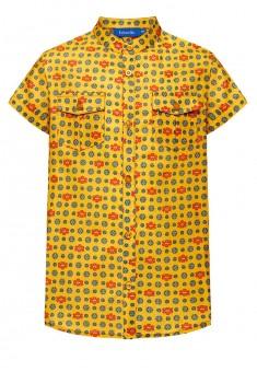 Рубашка с набивным рисунком для мальчика цвет желтый