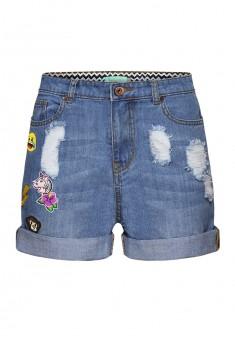 Джинсовые шорты с нашивками Эмоджи цвет светлоголубой