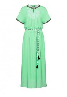 Длинное платье с вышивкой цвет светлозеленый