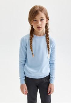 Knitted jumper for girl light blue