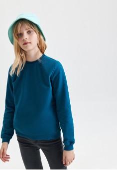Knitted jumper for girl dark teal
