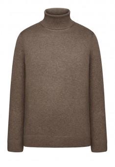 117M2302 Adīts džemperis vīrietim brūnas melanžas krāsā ar augstu apkakli