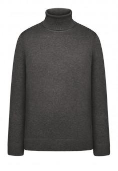 117M2302 Adīts džemperis vīrietim tumši pelēkas melanžas krāsā ar augstu apkakli