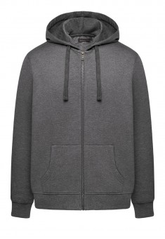Mens ZipThrough Hooded Jersey Sweatshirt dark grey melange