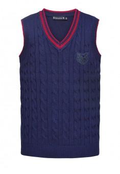 Knitted sleeveless jacket for boy dark blue