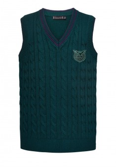 Knitted sleeveless jacket for boy dark green