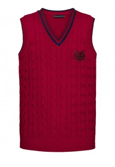 Knitted sleeveless jacket for boy burgundy
