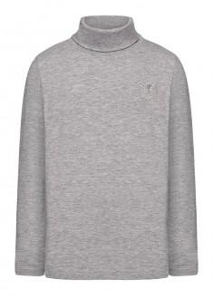 Embroidered poloneck for boy light grey melange