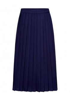 Calflength pleated skirt for girl dark blue