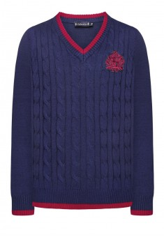 Knitted jumper for girl dark blue