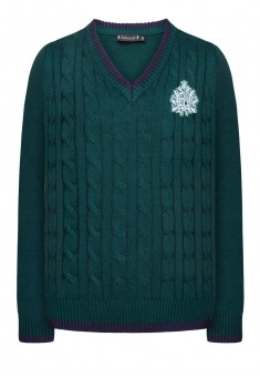 Knitted jumper for girl dark green
