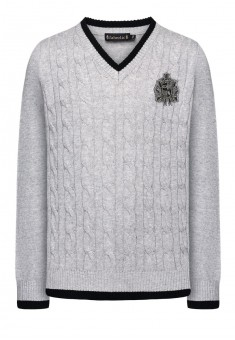 Knitted jumper for girl light grey melange