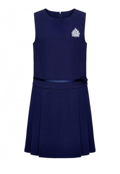 Embroidered sleeveless dress for girl dark blue