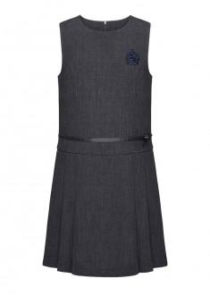 Сарафан с вышивкой для девочки цвет темносерый меланж