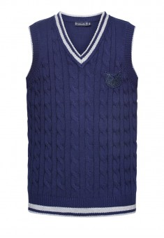 Knitted sleeveless jacket for girl dark blue