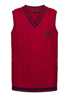 Knitted sleeveless jacket for girl burgundy