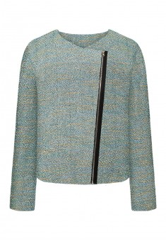 Lurex boucle jacket with eco suede detailing multicoloured