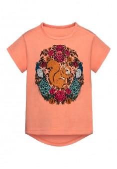 Трикотажная фуфайка с коротким рукавом для девочки цвет коралловый