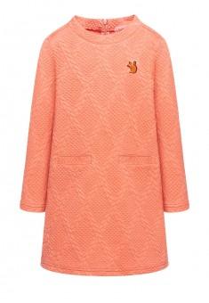 Трикотажное платье с длинным рукавом для девочки цвет коралловый