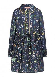 Платье с набивным рисунком для девочки цвет серосиний