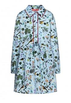 Платье с длинным рукавом для девочки цвет светлоголубой