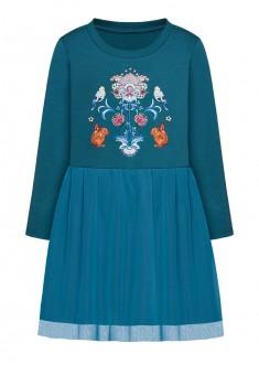 Трикотажное платье с длинным рукавом для девочки цвет темная лазурь
