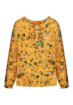 Блузка с длинным рукавом для девочки цвет шафран