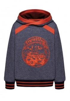 Трикотажный пуловер для мальчика цвет темносиний меланж