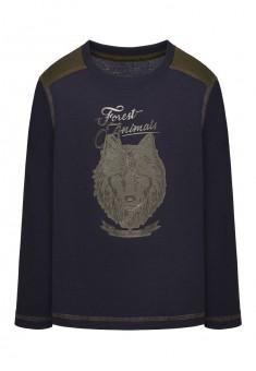 Трикотажная фуфайка с длинным рукавом для мальчика цвет темносиний