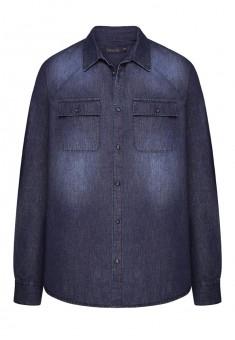Джинсовая рубашка для мужчины цвет темносиний