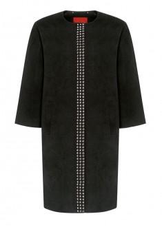 137W1201 Mētelis sievietei melnā krāsā ar metalizētu kniedīšu apdari
