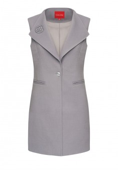 Open long waistcoat with a sew on patch light grey